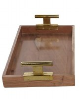 "17"" x 10"" Acacia Wood Tray With Gold Pull Handles"