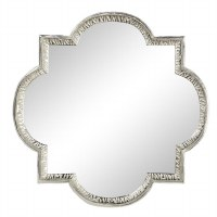 """40"""" Silver Metal Round and Square Wall Mirror"""