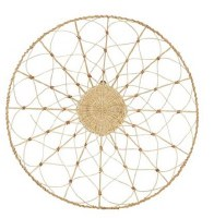 """28"""" Round Natural and White Woven Rattan Wall Decor"""