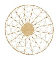 """24"""" Round Natural and White Woven Rattan Wall Decor"""