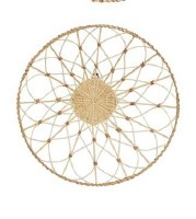 """20"""" Round Natural and White Woven Rattan Wall Decor"""
