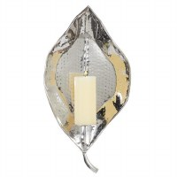 """21"""" Silver Hammered Steel Leaf Wall Sconce"""