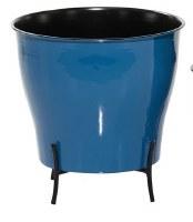 """12"""" Round Dark Blue Metal Enamel Planter With Black Stand"""