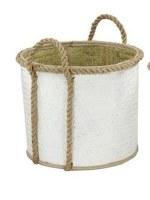 "17"" Round White Palm Leaf Basket With Loop Handles"