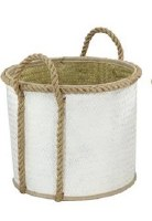 "15"" Round White Palm Leaf Basket With Loop Handles"