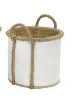 "13"" Round White Palm Leaf Basket With Loop Handles"