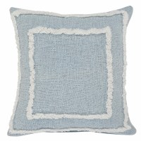 """20"""" Square Winter Sky Blue and White Tufted Fringe Pillow"""