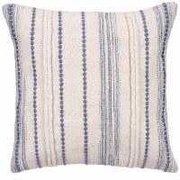 "20"" Square Faded Denim and White Multi Stripes Pillow"