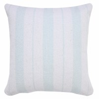 """20"""" Square Spa Blue and White Woven Stripes Pillow"""