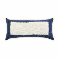 """16"""" x 24"""" Navy and Cream Hand Loomed Color Block Pillow"""