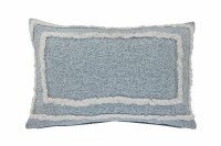 """16"""" x 24"""" Winter Sky Blue and White Tufted Pillow"""