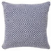 """20"""" Square Vintage Indigio Flat Woven Diamond Pillow"""