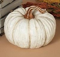 "9"" Round White Polyresin Pumpkin"