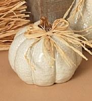 "5"" Distressed White Ceramic Short Pumpkin"