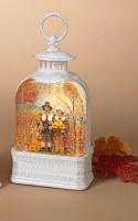"11"" White LED Pilgrim Couple Spinning Water Globe Lantern"