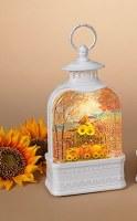 """11"""" White LED Harvest Thanks Spinning Water Globe Lantern"""