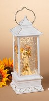 """11"""" White LED Harvest Angel With Bouquet Water Globe Lantern"""