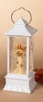 "11"" White LED Harvest Angel With Cornucopia Water Globe Lantern"