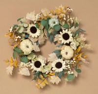 """24"""" Round Cream and Green Sunflower Pumpkin Wreath"""