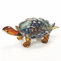 """12"""" Multicolor Firestorm Art Glass Turtle"""