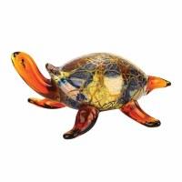 """5"""" Multicolor Firestorm Art Glass Turtle"""
