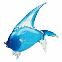 """16"""" Light Blue and Silver Art Glass Tropical Fish"""