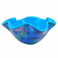 "9"" Round Blue Firestorm Art Glass Wavy Edged Bowl"