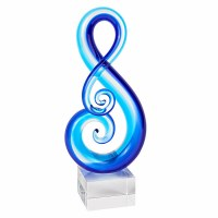 """11"""" Blue Art Glass Musical Note Sculpture on Crystal Base"""