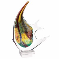 "16"" Multicolor Firestorm Art Glass Angel Fish on Crystal Base"