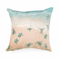 """18"""" Square Aqua Turtle Beach Illusions Pillow"""