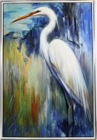 "54"" x 36"" Elegant Egret Canvas in Silver Frame"