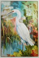 """54"""" x 36"""" Lush Clearing 1 Canvas in White Frame"""