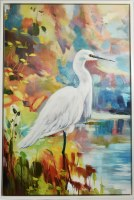 """56"""" x 36"""" Lush Clearing 2 Canvas in White Frame"""