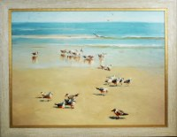 """36"""" x 48"""" Brids on The Beach on Gel Textured Print in Antique White Frame"""