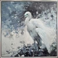 "45"" x 45"" Blue Tone Heron Canvas in Silver Frame"