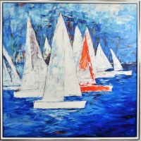"""45"""" Square Whitre Boats on Blue Canvas in Silver Frame"""
