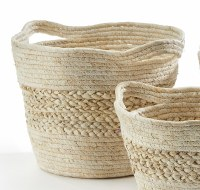 """16"""" Natural Grass Banded Basket With Handles"""