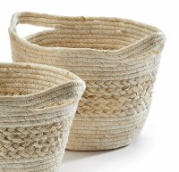"""14"""" Natural Grass Banded Basket With Handles"""