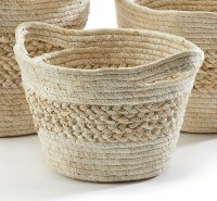 """11"""" Natural Grass Banded Basket With Handles"""