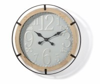 "27"" Round Natural Wood Black Metal Wall Clock"