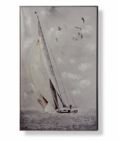 """48"""" x 32"""" Gray Sailboat and Seagulls Canvas Wall Art With Wood Frame"""