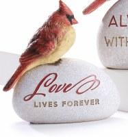 """6"""" Love Lives Forever Polyresin Cardinal Memorial Garden Stone"""