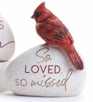 "6"" So Loved So Missed Polyresin Cardinal Memorial Garden Stone"