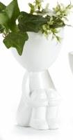 "6"" White Ceramic Sitting Head Pot"