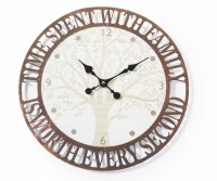 """18"""" Round Time With Family Metal and Wood Wall Clock"""