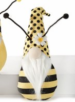 """8"""" Yellow and Back Dotted Flower Hat Bee Gnome"""