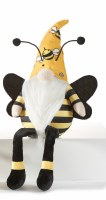 """20"""" Yellow and Black Bee Hat Shelf Sitter Bee Gnome"""