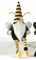 """20"""" Yellow and Black Striped Hat Shelf Sitter Bee Gnome"""