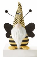 """14"""" Yellow and Black Dotted Hat Bee Gnome With Black Wings"""