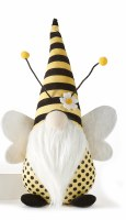 """14"""" Yellow and Black Striped Hat Bee Gnome With White Wings"""